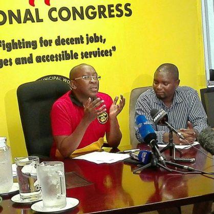 Samwu Joburg convenor Jack Mokalapa and chairman Khaya Nyathi brief journalists in Johannesburg on Friday. PHOTO: Getrude Makhafola/ANA