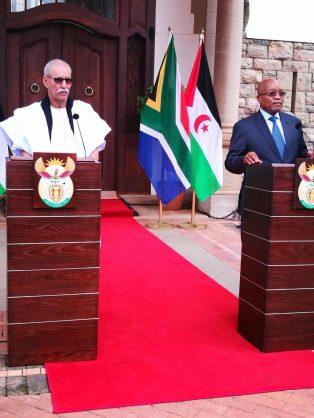 President Jacob Zuma receives visiting President of the Saharawi Arab Democratic Republic, Brahim Ghali, at the Sefako Makgatho Presidential Guesthouse in Pretoria on Friday. PHOTO: ANA