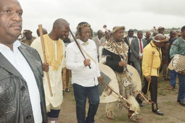 MEC Dhlomo with king Goodwill Zwelithini, inkosi Chiliza, and acting premier Sihle Zikalala. Photo: KZN health dept