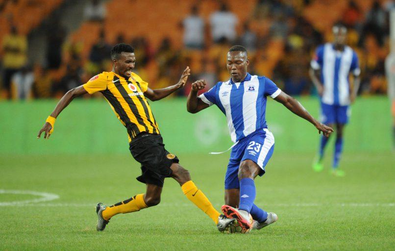Lucky Baloyi  of Kaizer Chiefs challenges Philani Zulu  of Maritzburg United.  (Pic Sydney Mahlangu/ BackpagePix)