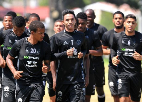 Sameehg Doutie (centre) trains with Ajax Cape Town. (Ryan Wilkisky/BackpagePix)