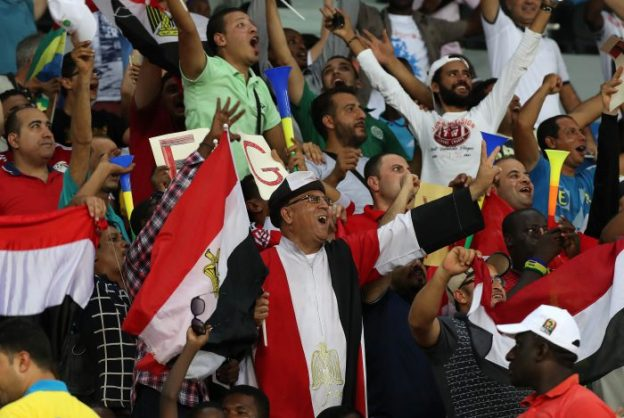 Fans of Egypt during the 2017 Africa Cup of Nations Finals football match between Egypt and Uganda at the Port Gentil Stadium in Gabon on 21 January 2017 ©Chris Ricco/BackpagePix