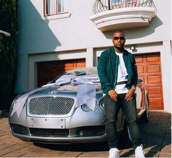 Wealthy rapper Cassper Nyovest with his Bentley. Picture: Instagram