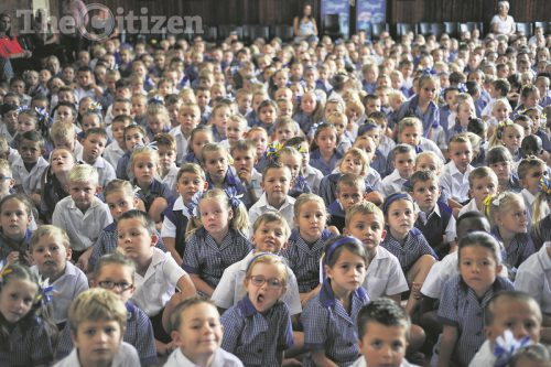 Gr1 pupils in the hall on their first day of school at Laerskool Hennopspark, 11 January 2016, Centurion. Picture: Jacques Nelles
