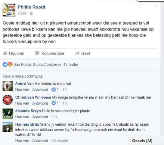 Phillip Roodt Facebook post.