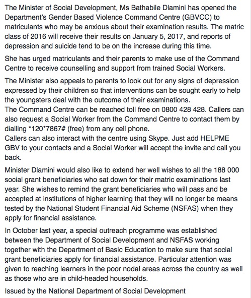 A screenshot of a statement on the Department of Social Development Facebook page. Picture: Facebook