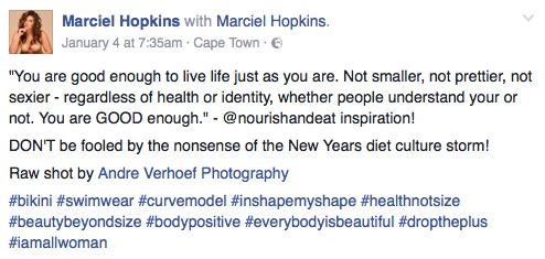 A screenshot of a post by Marciel Hopkins on her Facebook page. Picture: Facebook