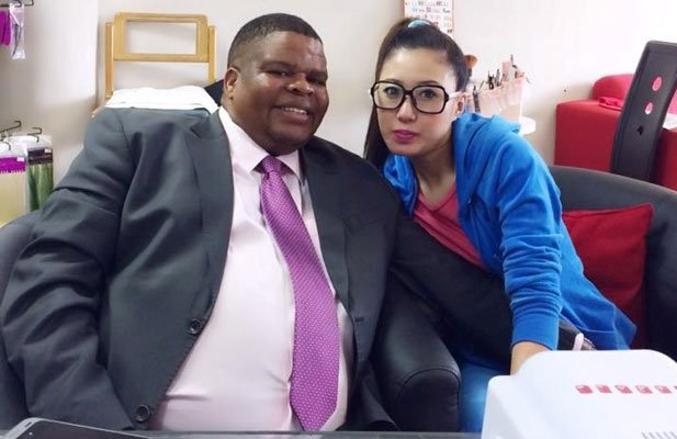 A picture that emerged last year alleged to be of State Security Minister David Mahlobo with a 'massage therapist/manicurist' at alleged rhino trafficker Guang's spa in Nelspruit. He told the media that he only went to the spa to do his nails. Picture: Twitter