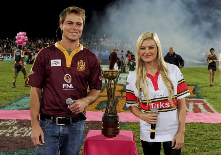 CAPE TOWN, SOUTH AFRICA - APRI 8: Bobby van Jaarsveld and his sister, Karlien, at the Varcity Cup Final on April 8, 2013, in Cape Town, South Africa. (Photo by Gallo Images / Foto24 / Jaco Marais)