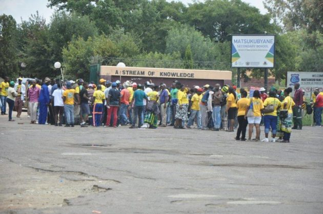 January 14 - A group of people wearing ANC T-Shirt carrying sticks disrupted a North West Business Forum meeting in Kanana near Rustenburg on Saturday. The meeting was called to debate the political situation in North West. Photo: ANA
