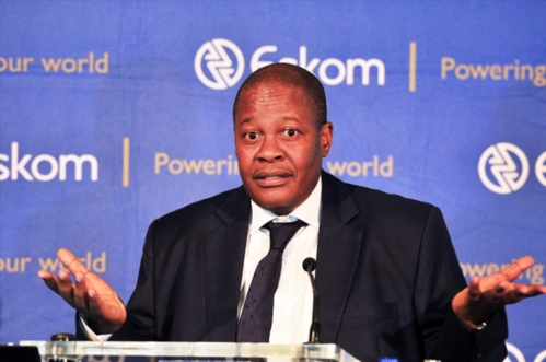 """JOHANNESBURG, SOUTH AFRICA - NOVEMBER 03: Eskom CEO Brian Molefe during a media conference where Eskom released its interim financial results on November 03, 2016 in Johannesburg, South Africa. Molefe defended Eskom's deal with Tegeta, a Gupta owned company, saying that allegations levelled against him in Thuli Madonsela's """"state capture"""" report are unfounded. (Photo by Gallo Images / City Press / Lucky Nxumalo)"""