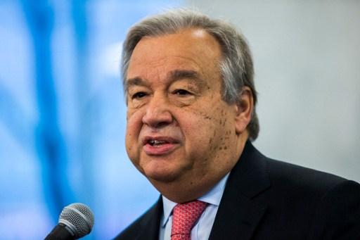 (FILES) This file photo taken on January 3, 2017 shows United Nations Secretary-General Antonio Guterres speaking to staff members at UN headquarters in New York. / AFP PHOTO / Eduardo Munoz Alvarez