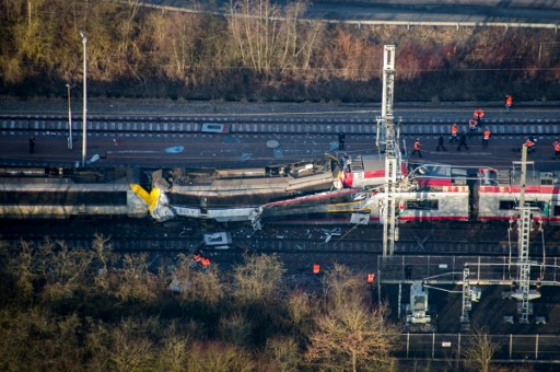 This handout photo released by the Luxembourg's Police Grand-Ducale shows a passenger train after it collided with a freight train near Dudelange in Luxembourg on February 14, 2017, killing one person and injuring several more, police said. The passenger service from Thionville in northeast France hit the goods train at Bettembourg near the French border around 0800 GMT, they said.  / AFP PHOTO / POLICE GRAND-DUCALE / HO / RESTRICTED TO EDITORIAL USE - MANDATORY CREDIT