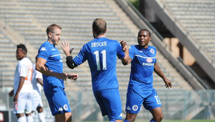 Jeremy Brockie of Supersport United celebrates goal during the CAF Confederation Cup match between Supersport United and Elgeco on 19 February 2017 at Lucas Moripe Stadium ©Sydney Mahlangu/BackpagePix