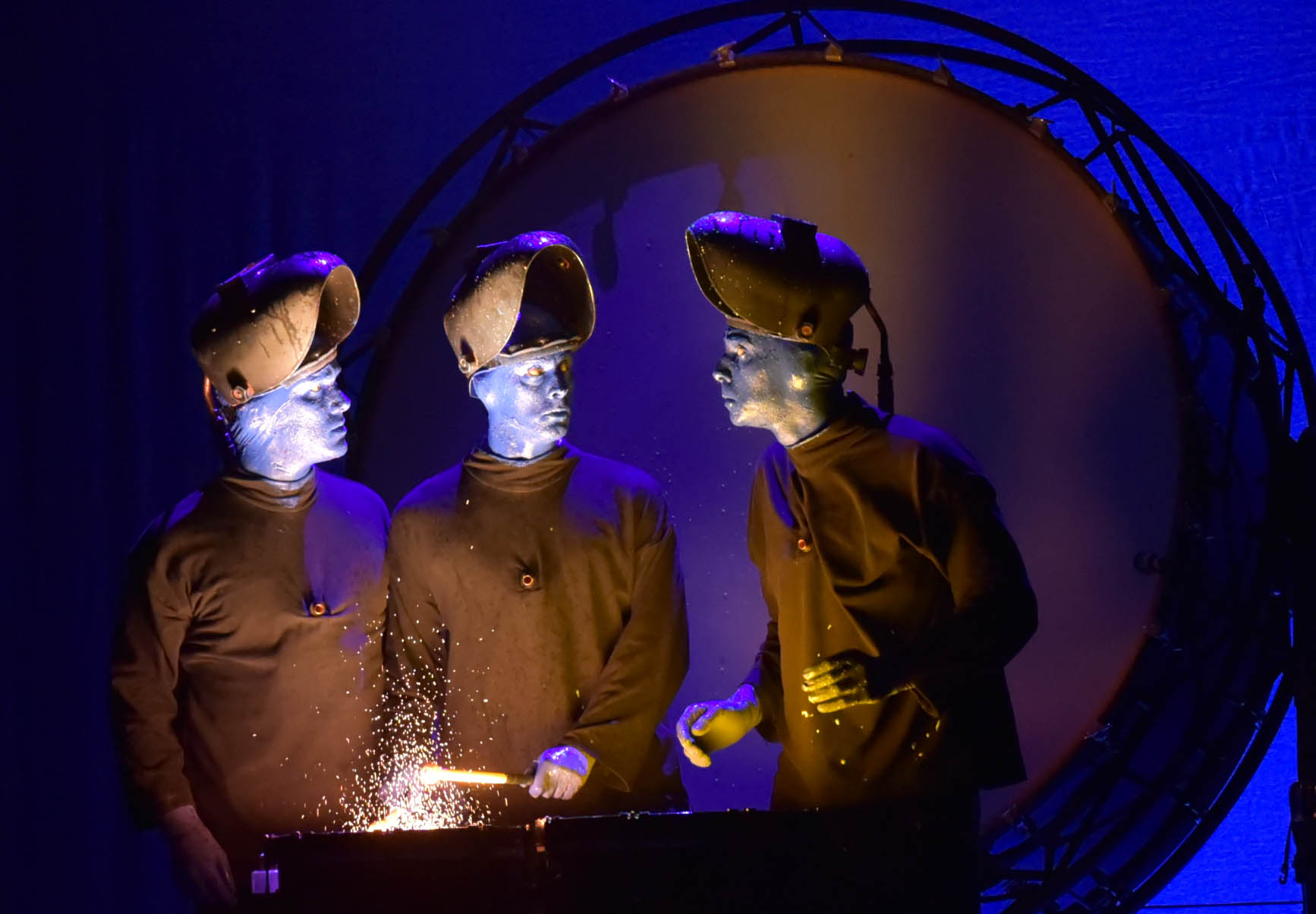 Comedy, theatre, rock concert and dance party  group known as Blue Man Group performs at Monte Casino in Johannesburg, 7 February 2017. The concert runs from Tuesday 7 February 2017 to Sunday, 5 March 2017. Tickects are selling from R370 to R680 at Computickect. The acclaimed stage show, best known and recognised for its trio of bald and blue performers. Approaching its 25th year of creativity, this artistic group is continually updating and refreshing Blue Man shows with new music, fresh stories, custom instruments and state of the art technology. Picture: Nigel Sibanda
