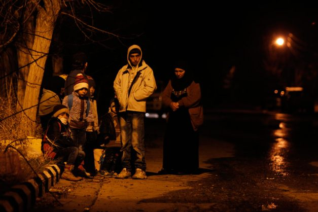 In Madaya, Rural Damascus, children and their families wait for permissions to leave the besieged Syrian town.