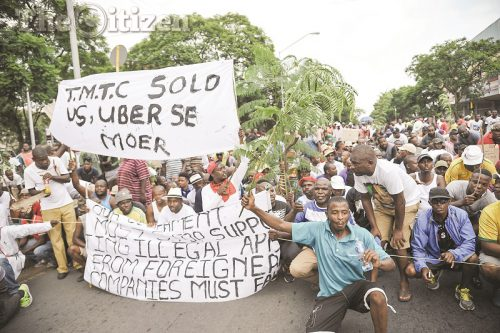 Metered Taxi operators are seen during a protest march in Pretoria, 8 February 2017, they marched in protest against Uber and Tuk-tuk services in Pretoria. Picture: Jacques Nelles
