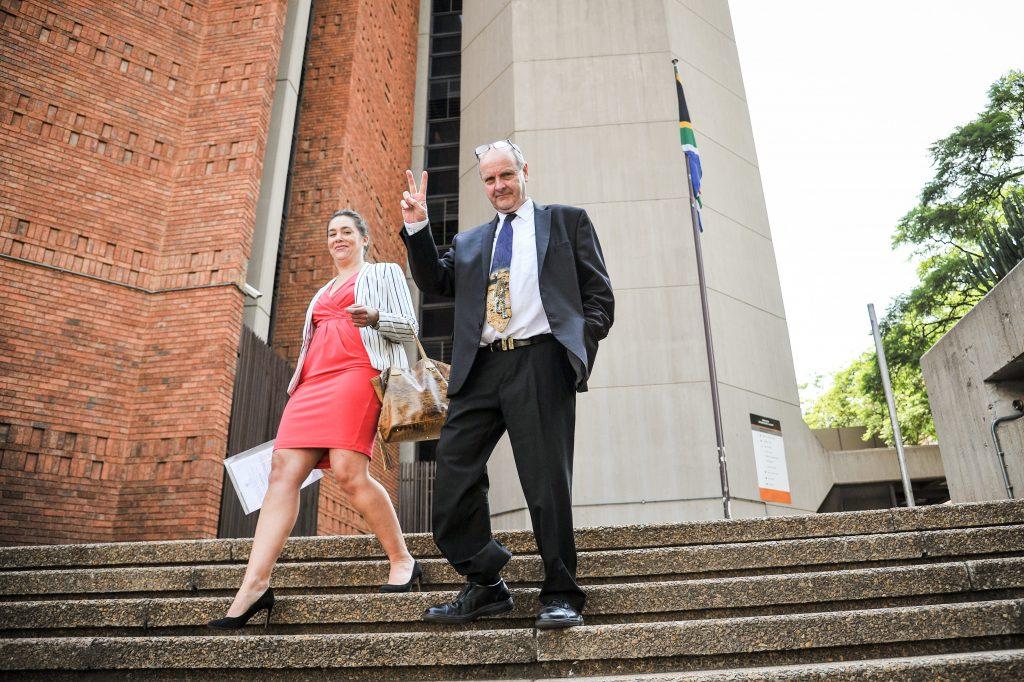 Paul O'Sullivan and his assistant Sarah-Jane Trent are seen leaving the Pretoria Magistrates Court, 14 February 2017, Pretoria. Picture: Jacques Nelles