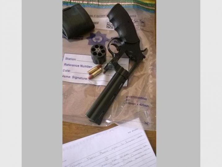 Police found themselves on the barrel-end of this gun before disarming the suspect and detaining him. Photo submitted.