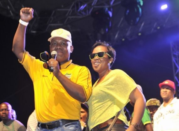 Edward Zuma and wife Phumelele during an ANC beach party at New Beach on May 2, 2014 in Durban. Picture: Gallo Images