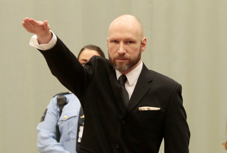 Norwegian right-wing mass murderer Anders Breivik during a court appearance. Lise Aaserud/Scanpix