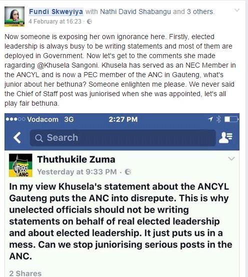 Thuthukile Zuma's Facebook post.