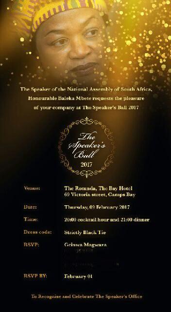 Invitation to the Speaker's Ball in honour of National Assembly Speaker Baleka Mbete. Picture: Twitter