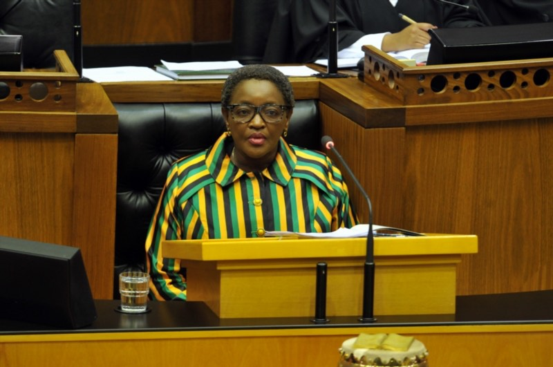 Social Development Minister Bathabile Dlamini appears before the National Assembly regarding the SASSA crisis on March 14, 2017 in Cape Town, South Africa. The National Assembly debated Dlamini's removal over her handling of the social grant payment situation. Picture: Gallo Images