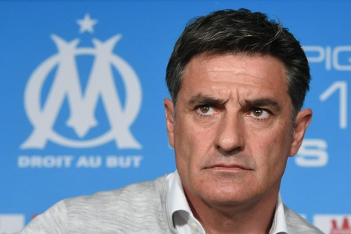 (FILES) This file photo taken on April 15, 2016 shows Marseille's Spanish head coach Jose Miguel Gonzalez Martin del Campo, also known as Michel, giving a press conference at the Robert Louis-Dreyfus training center in Marseille.   La Liga strugglers Malaga relived coach Marcelo