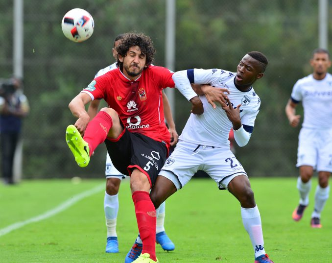 Phakamani Mahlambi of Bidets Wits challenged by Ahmed Hegazy of Al Ahly during the 2017 Caf Champions League match between Bidvest Wits v Al Ahly at the Bidvest Stadium, South Africa on 19 March 2017 ©Samuel Shivambu/BackpagePix