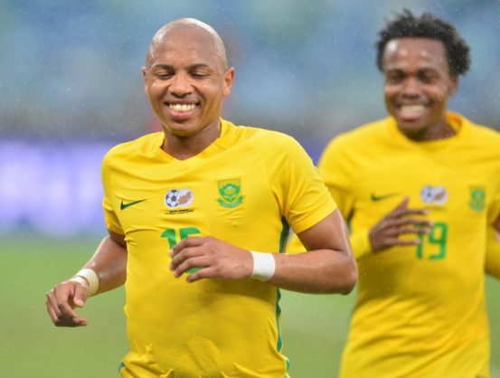 Andile Jali celebrates scoring a penalty with Percy Tau of South Africa during the 2017 International Friendly match between South Africa and Guinea Bissau at the Moses Mabhida Stadium. (Samuel Shivambu/BackpagePix)