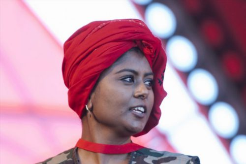 Magdalene Moonsamy during the party's 2nd anniversary on July 25, 2015 at Olympia stadium in Rustenburg, South Africa. Hundreds of EFF supporters flocked the stadium to celebrate the second-year anniversary of the party. (Photo by Gallo Images / Thapelo Maphakela).