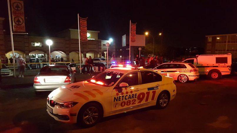 THE scene outside Edleen Spar on Friday night. Photograph: Anton van der Merwe