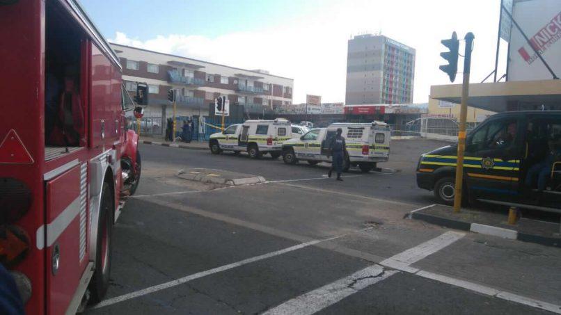 Heavy police presence at the Randburg Square; Photo: supplied.