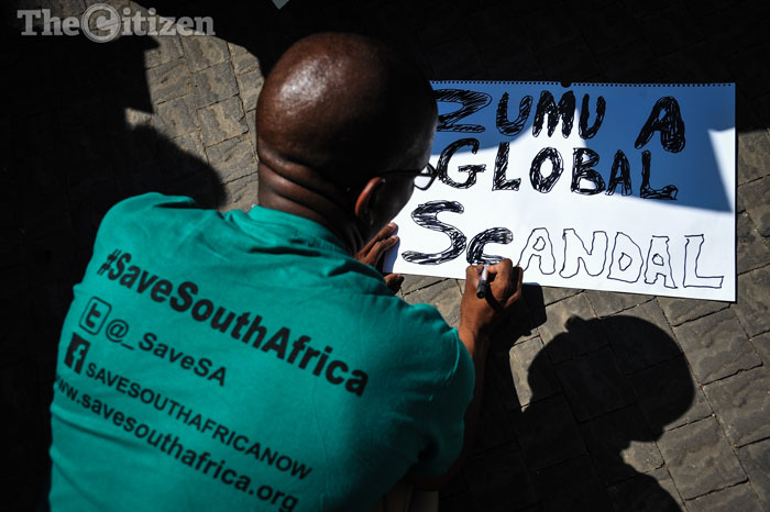 Save SA members demonstrate outside the National Treasury while they await Pravin Gordhan, the now ex-minister of finance, to address them, 31 March 2017, Pretoria. Picture: Jacques Nelles