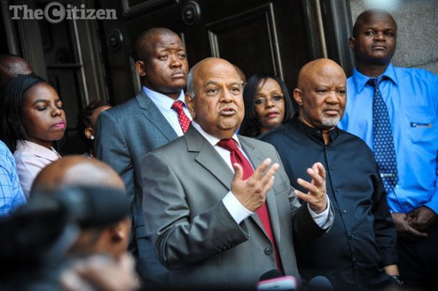 Pravin Gordhan addresses media and demonstrators outside the National Treasury, Pravin was fired the night before as the Minister of Finance during a Cabinet reshuffle by President Jacob Zuma, 31 March 2017, Pretoria. Picture: Jacques Nelles