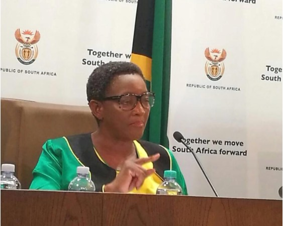 Social Development Minister Bathabile Dlamini addresses a press conference in Pretoria on the social grants payment fiasco. Photo: ANA