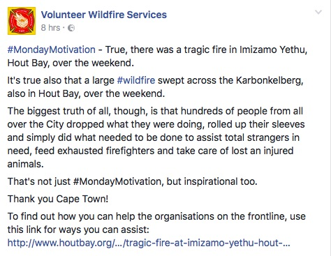 Volunteer Wildfire Services commended the spirit of community which Cape Town has demonstrated in the Cape Town fires. Picture: Screenshot from the Volunteer Wildfire Services Facebook page