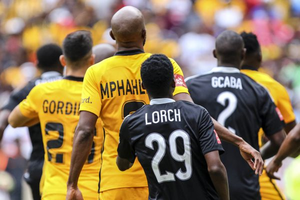 Players compete for space in the goal box during the Absa Premiership match between Kaizer Chiefs and Orlando Pirates at FNB Stadium. (Photo by Barry Aldworth/Gallo Images)