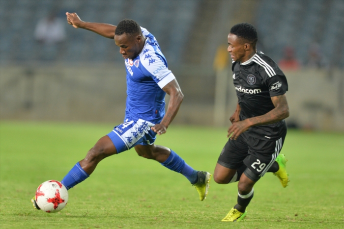 Onismor Bhasera and Thembinkosi Lorch during the Absa Premiership match between Orlando Pirates and SuperSport United at Orlando Stadium in Johannesburg, South Africa. (Photo by Lefty Shivambu/Gallo Images)