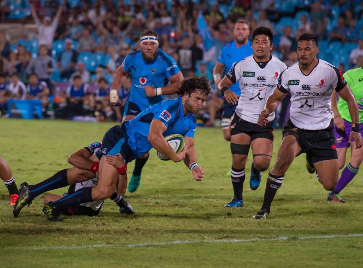 Jan Serfontein marked his return to competitive action with two tries. Photo: Anton Geyser/Gallo Images.