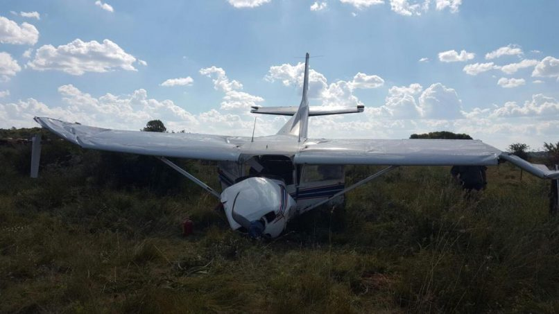March 18 - A man, believed to be in his 20s, sustained serious head injuries when a light aircraft crashed in Potchefstroom on Saturday afternoon. Photo: ER24