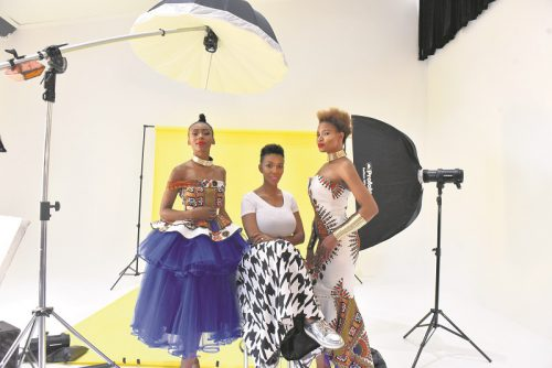 Nhlanhla Nciza and models smile for the camera.  Picture: Tracy Lee-Stark
