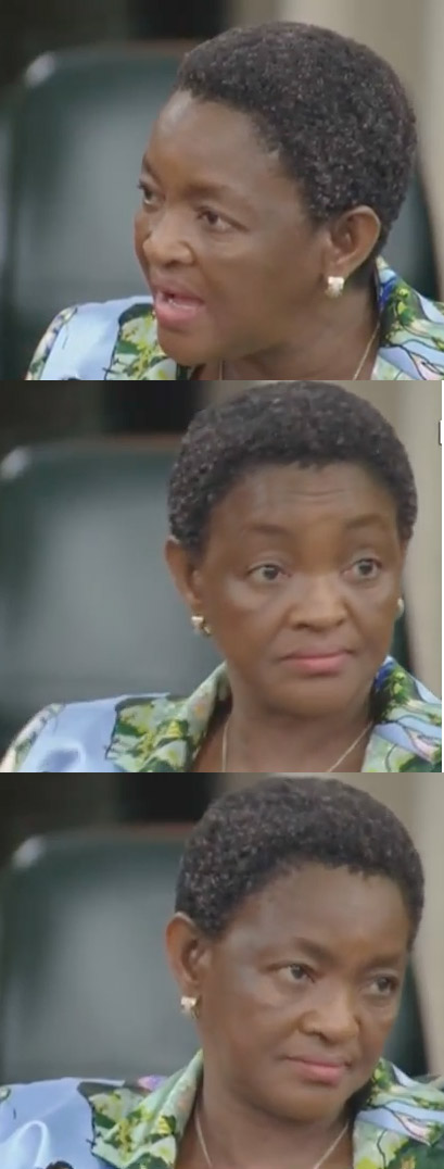 Bathabile Dlamini's reaction at being told she is undermining parliament. Picture: YouTube screenshot/SABC