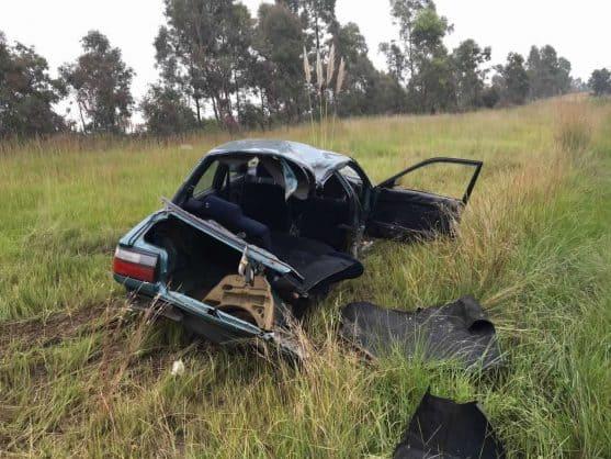 THE car wreckage in the veld. Photograph: Emer-G-Med