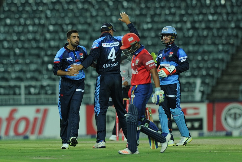 JOHANNESBURG, SOUTH AFRICA - MARCH 17: Tabraiz Shamsi of Multiply Titans celebrating his wicket of Dominic Hendricks during the Momentum One Day Cup match between bizhub Highveld Lions and Multiply Titans at Bidvest Wanderers Stadium on March 17, 2017 in Johannesburg, South Africa. (Photo by Gallo Images)
