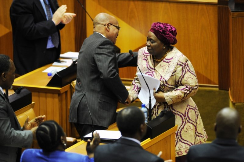 President Jacob Zuma with outgoing Home Affairs Minister Dr Nkosazana Dlamini-Zuma during a debate in Parliament to congratulate her on being elected to the AU on September 19, 2012. Picture: Gallo Images