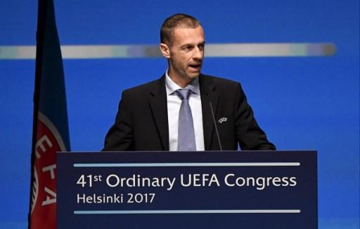 UEFA President Aleksander Ceferin gives a speech during the 41st Ordinary UEFA Congress on April 5, 2017 at the Fair Centre Messukeskus in Helsinki, Finland. / AFP PHOTO / Lehtikuva / Markku Ulander / Finland OUT