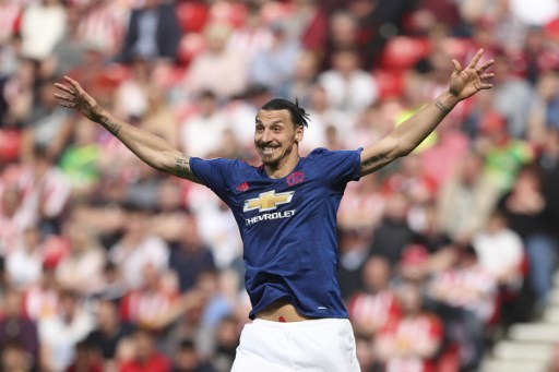 fba314b7156 Manchester United's Swedish striker Zlatan Ibrahimovic gestures during the  English Premier League football match between Sunderland