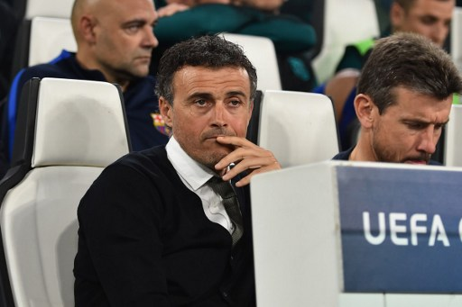 Former Barcelona coach Luis Enrique looks on during the UEFA Champions League quarter final first leg football match Juventus vs Barcelona, on April 11, 2017 at the Juventus stadium in Turin.  / AFP PHOTO / GIUSEPPE CACACE